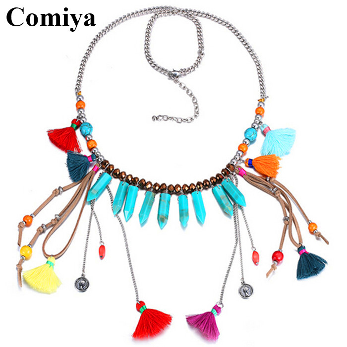 Handmade Ethnic tassels jewelry colors gold plated choker necklace Bohemian long crystal wood beands chains collares femme 2016(China (Mainland))