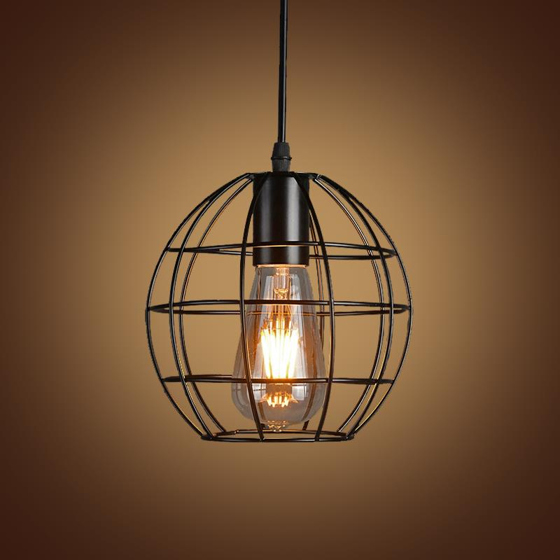 Vintage Iron Pendant Light Industrial Lighting Nordic Country Style Retro Cages Pendant Lamp E27 Droplight Hanging Light Fixture<br><br>Aliexpress