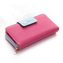 2016 New Fashion Candy Colors Women Wallets Female Coin Purse Brand PU Leather Long Desgin Leather Purse Clutch Lady Handbag