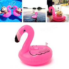 6pcs/lot Mini Cute Flamingo Drink Can Holder PVC Inflatable Floating Swimming Pool Bathing Beach Party Kids Toy (China (Mainland))