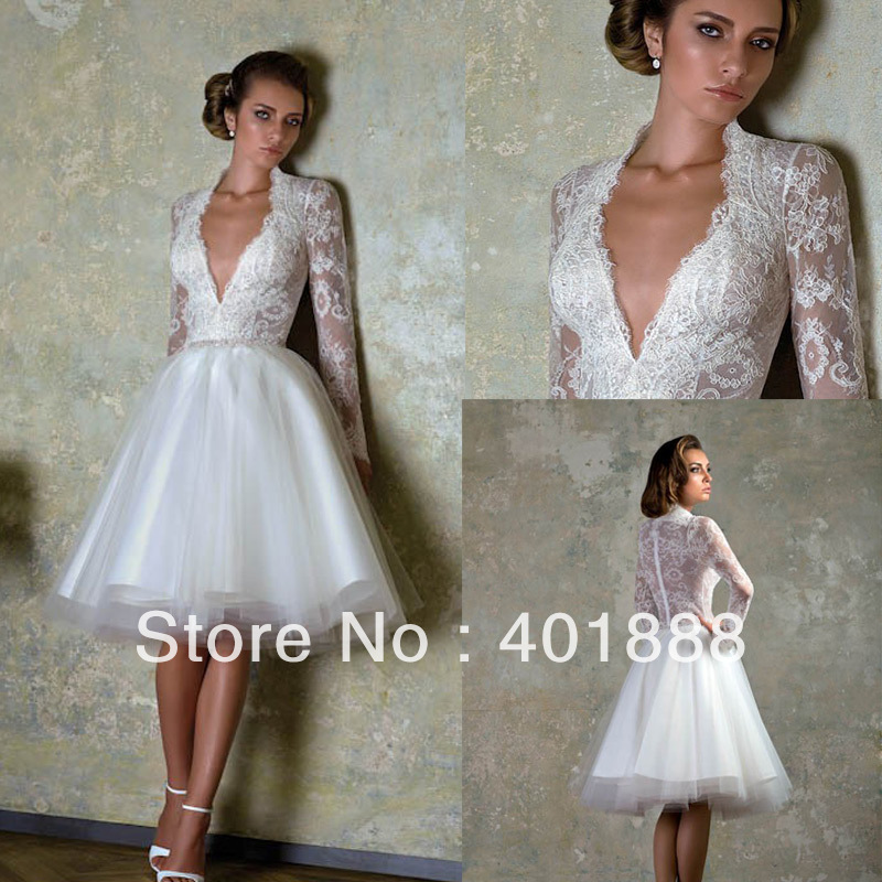 Cheap white knee length v neck lace long sleeve short for Cheap lace wedding dresses with sleeves