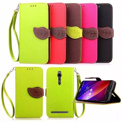 Leaf Clasp Case for ASUS Zenfone 2 ZE551ML 64GB with Stand Function 2 Card Holder Wallet Case Cover for ASUS Zenfone 2 Case(China (Mainland))
