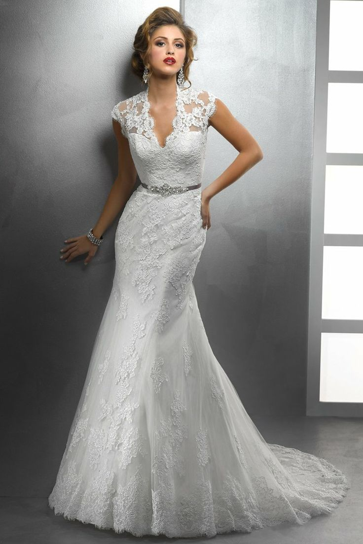 Romantic Style Deep V Neck Rhinestone Sashes Lace Covered Back White Mermaid Wedding Dress 2015