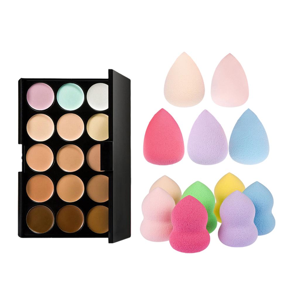 15 Colors Contour Face Cream Makeup Concealer Palette + Sponge Puff By Random For Your Best Choice GUB#(China (Mainland))