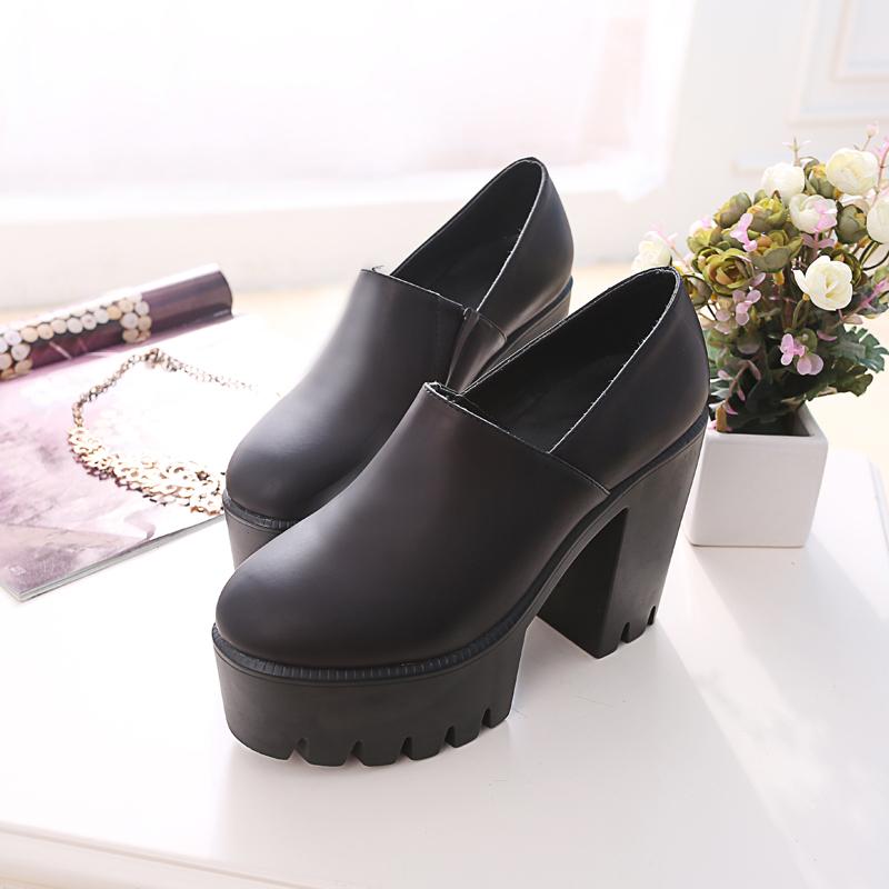 2015 spring and summer boots fashion thick heel platform shoes platform round toe platform high heels women's shoes