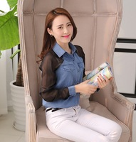 New arrival denim shirt  female long-sleeve slim chiffon sleeve  women clothing