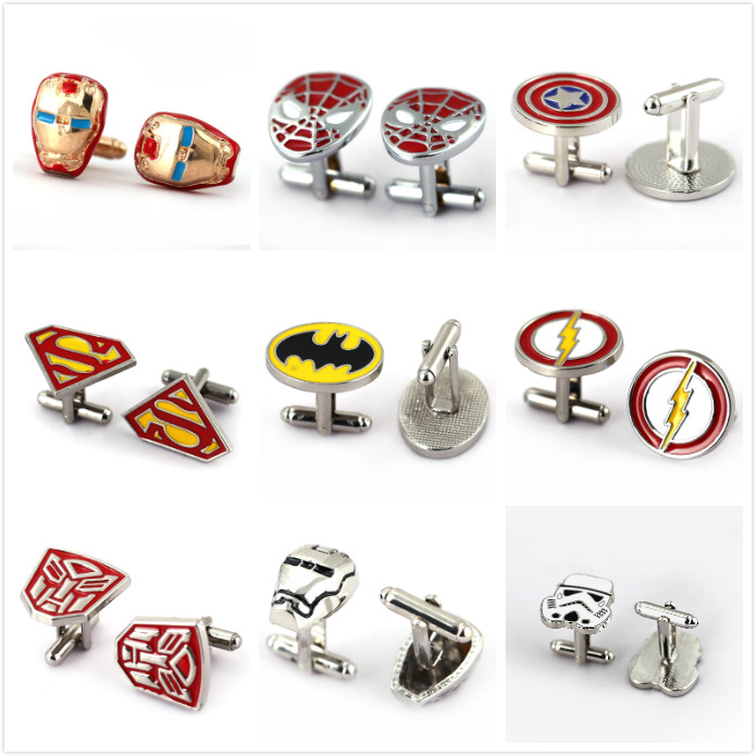 HSIC JEWELRY Metal Alloy Superhero Cuff Link Superman Spider-Man Iron Man Captain America Cuff Buttons size 2cm*2cm