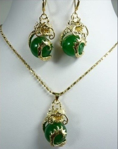 New Fashion Hot Beautiful Woman's Pearl Jewelery Set Natural Greenn jade Dragon pendant necklace earring  free shipping