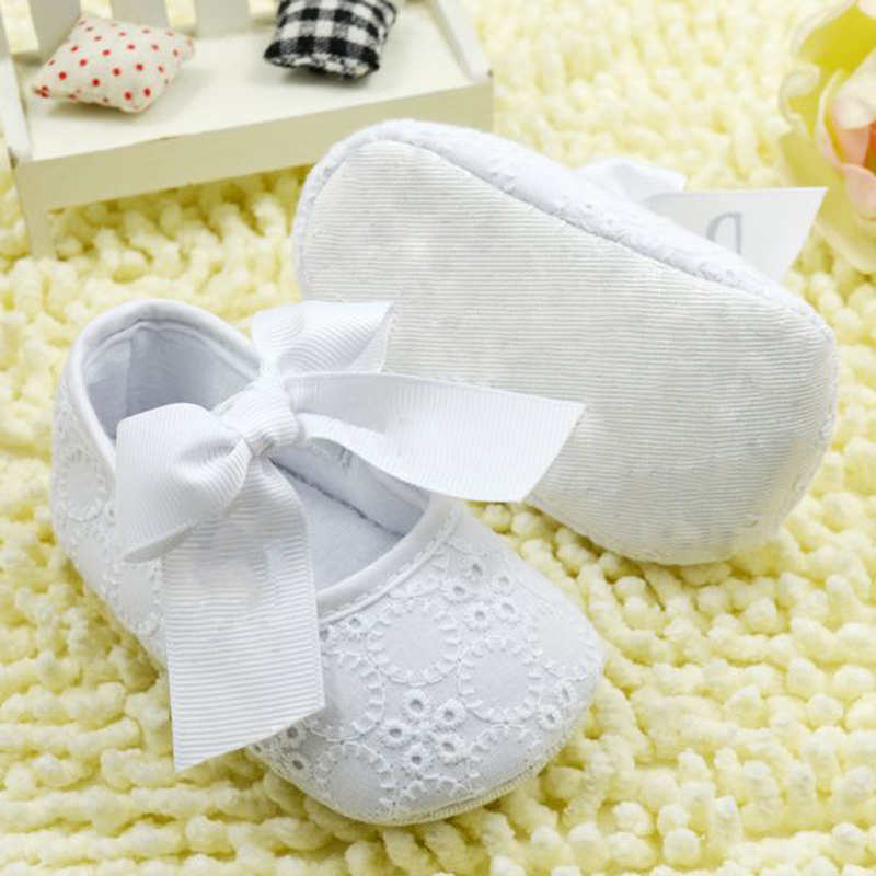 White Bowknot Baby Girl Shoes Toddler Prewalker Anti Slip Shoe Simple Baby Shoes