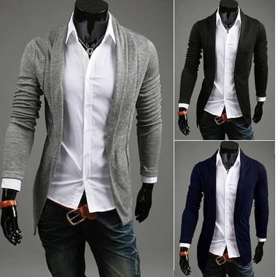 2015Korean version of the influx of people wild fashion cardigan jacket and long sections Slim men casual knit cardigan(China (Mainland))