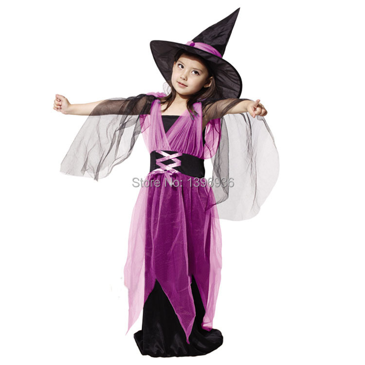 Free shipping!!! fashion Kids Halloween costumes hardcover children suit gauze female witch clothes<br><br>Aliexpress