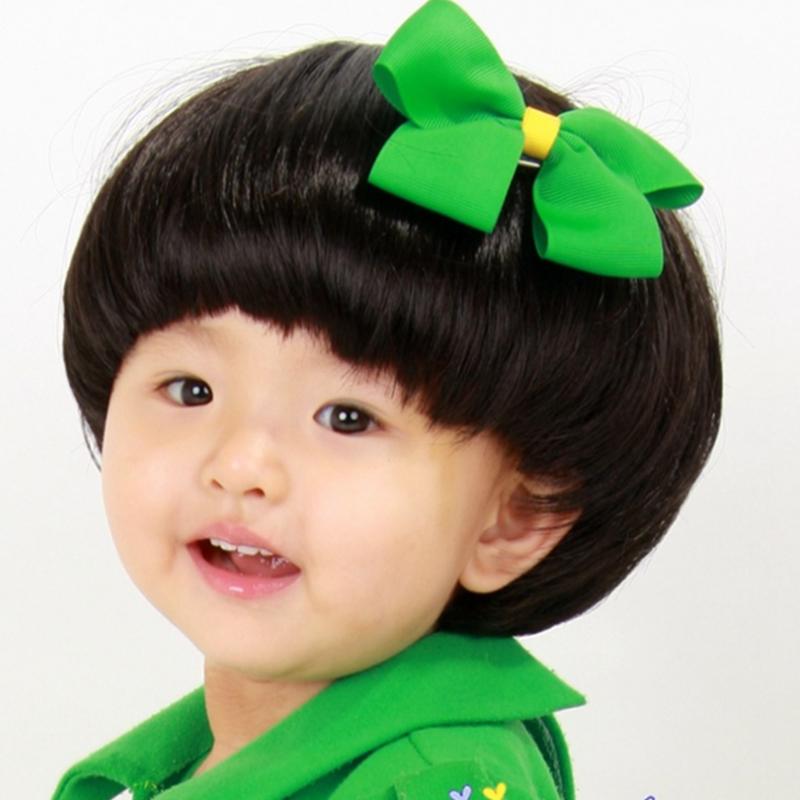 Fashion 2015 Super Cute Baby Boy Mushroom Head Black Hair Wig Children 's Short Straight Hair Neat Bang Hair Wig(China (Mainland))