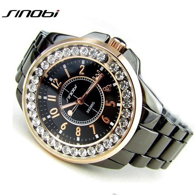 2016 relojes mujer шику SINOBI роскошные стали алмаз часы горный хрусталь дамы платье женщины наручные часы подарок серебро и золото новый