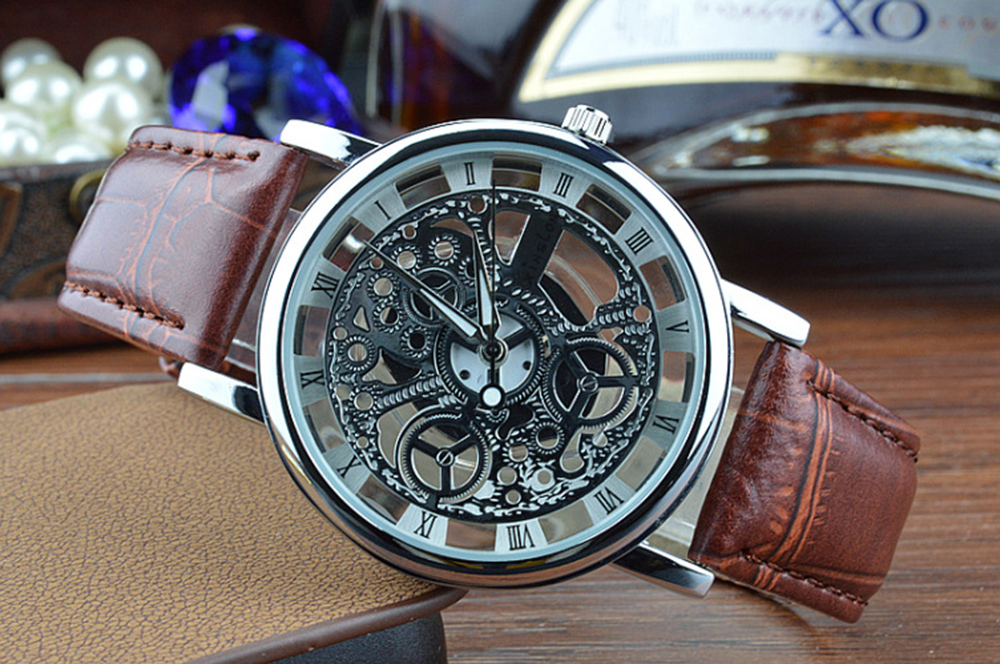 2015 New Famous Brand Winner Luxury Fashion Casual Stainless Steel Men Quartz Watch Skeleton Watch For Men Dress Wristwatch(China (Mainland))