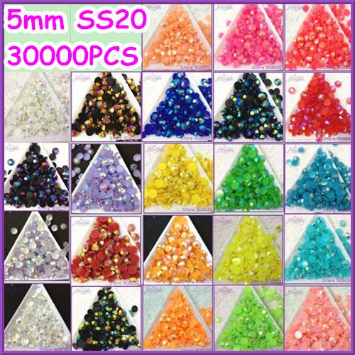 30000pcs/bag 5mm resin rhinestone flatback JELLY AB COLORS~U choose ,ss20 round candy resin rhinestone flatback with silver base