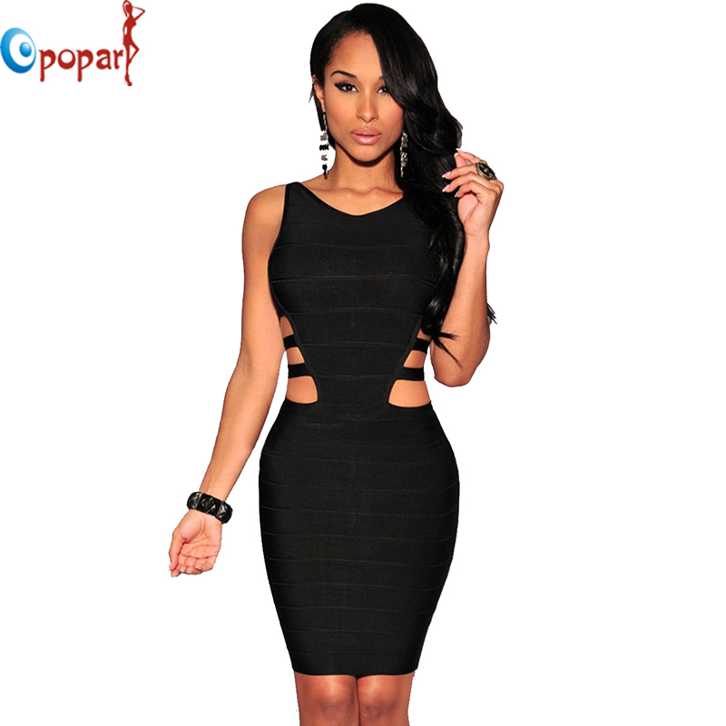 2015new arrival sexy women black celebrity bandage dress with two ...