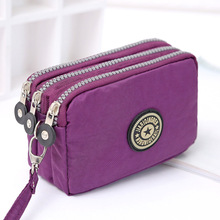 Coin Purse Women Small Wallet Washer Wrinkle Fabric Phone Purse Three Zippers Portable Make Up bag Mujer Monederos Para Monedas