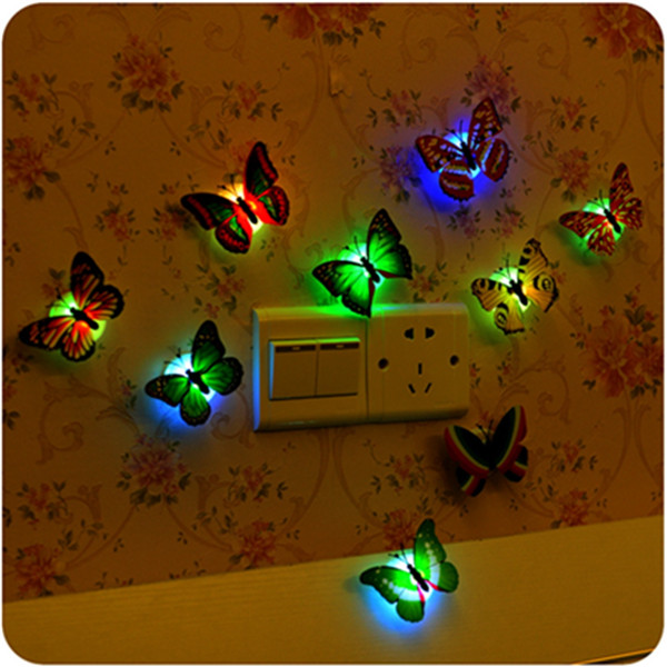 Brand New 1PCS 7 Colors Lovely Changing Beautiful Cute ABS Butterfly LED Night Light Lamp Excellent Quality(China (Mainland))