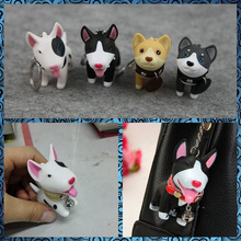 Free shipping Cute Dogs Mini PVC Figure 1pc pocket toy Akita Bull Terrier keychain bag hanger party favor supply kids gifts(China (Mainland))