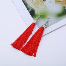 Naomy&ZP Brand Tassel Earrings Women Fashion Jewelry Bohemian Long Dangle Earrings Silk Fabric Ethnic Boho Vintage Drop Earrings(China)