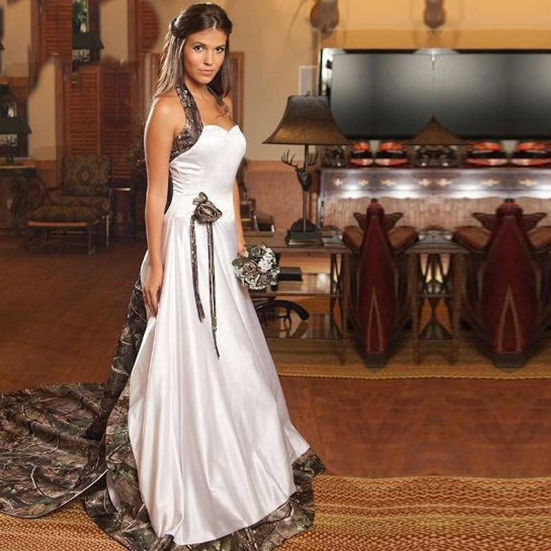 White Wedding Dresses With Camo : White camouflage wedding dresses with beaded halter camo