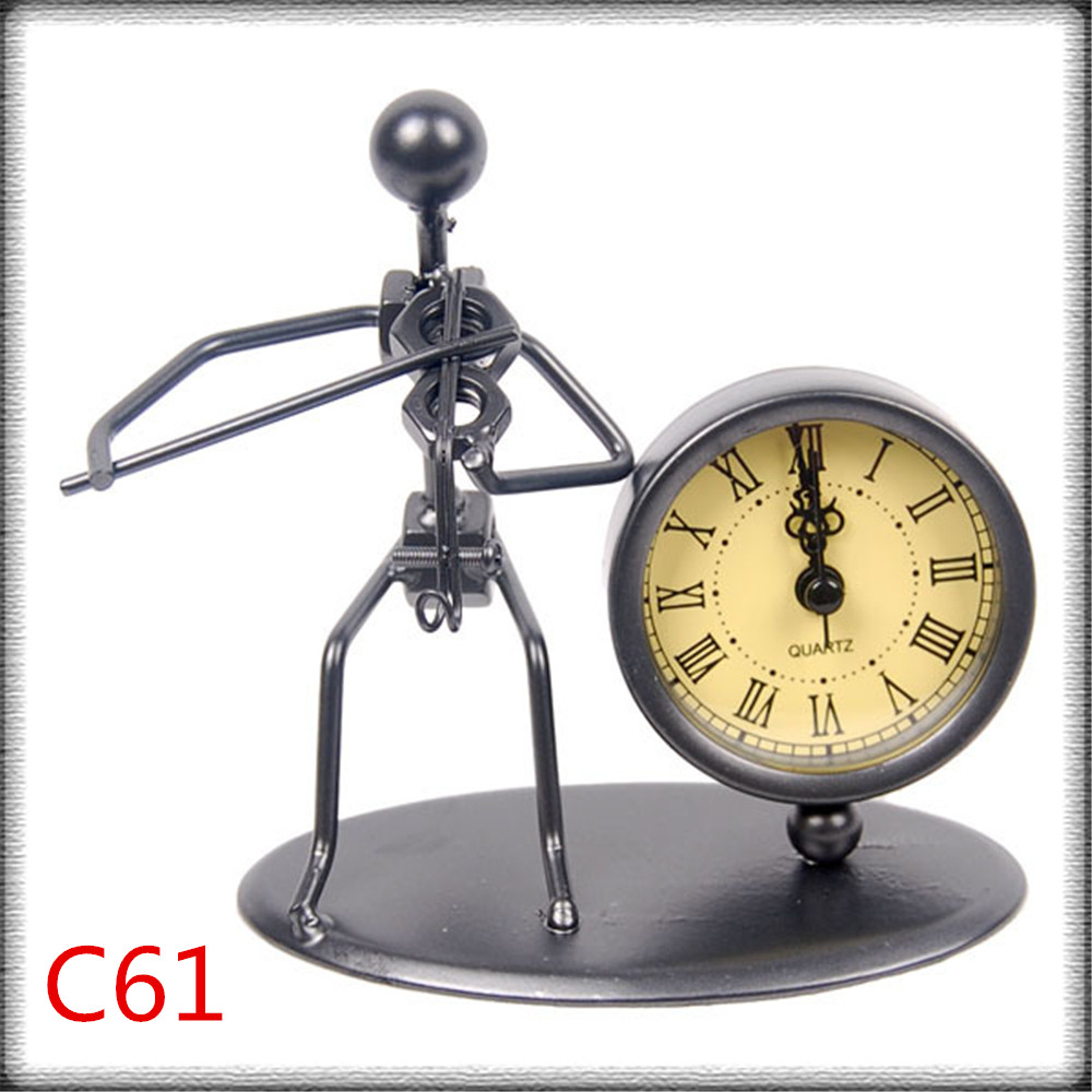 Creative living room table decoration accessories vintage metal iron office desk table clock,retro home decoration metal crafts