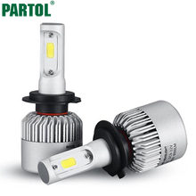 Partol S2 COB H7 LED Headlight 72W 8000LM All In One Car LED Headlights Bulb Headlamp Fog Light 12V Auto Replacement Parts 6500K(China (Mainland))