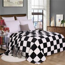 black and white plaid super soft warm plaid printed coral fleece blanket(China (Mainland))