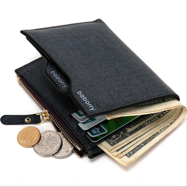 Высочайшее Качество Кожаный бумажник мужчины молния кармана монету съемная карта ...