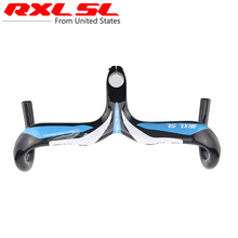 Buy RXL SL Road Bike Carbon Handlebar Bicycle Handlebars Integrated Handlebar Stem Blue Bicycle Parts 3k Glossy Ultra light for $45.90 in AliExpress store
