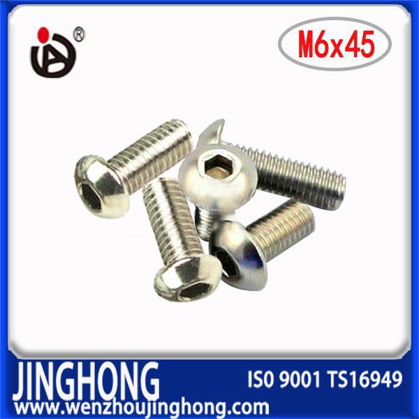 [JH]  100pcs/lot  ISO7380  M6*45  Stainless Steel Hexagon socket round head screws<br><br>Aliexpress
