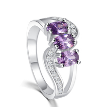 2015 Fashion big high quality Amethyst Cross Infinity Ring jewelry Luxury Charm Silver-plated Crystal Ring Wholesale women M12