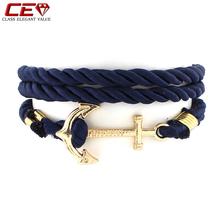 Vintage Multilayer Long Rope Bracelet Men Jewelry Gold Anchor Retro Bracelets For Women bracciali donna pulseras Mens Bangles(China (Mainland))