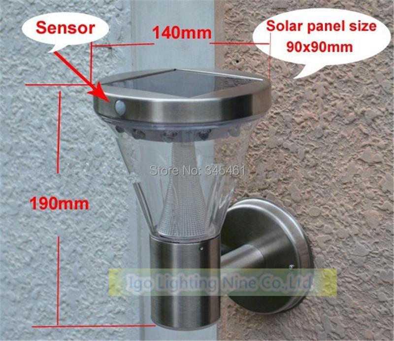 10pcs/lot  -13led solar light Durable stainless steel PIR Motion Sensor wall lamp led solar light outdoor garden Yard light