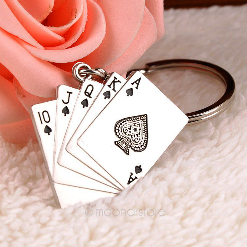 2015 New Cute Silver Plated Poker Keychain Alloy Key Chain Creative Gift F20MHM160#Y6(China (Mainland))