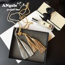New Arrival Gold Silver Leather Tassel Necklaces Sweater Chain Fashion Personality Simple Metal Chain Long Necklace Pendant Gift(China (Mainland))