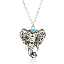Design Vintage Fashion 2016 Summer Jewelry Bohemia Ancient Silver Elephant Necklaces & Pendants With Ethnic Turquoise Women(China (Mainland))