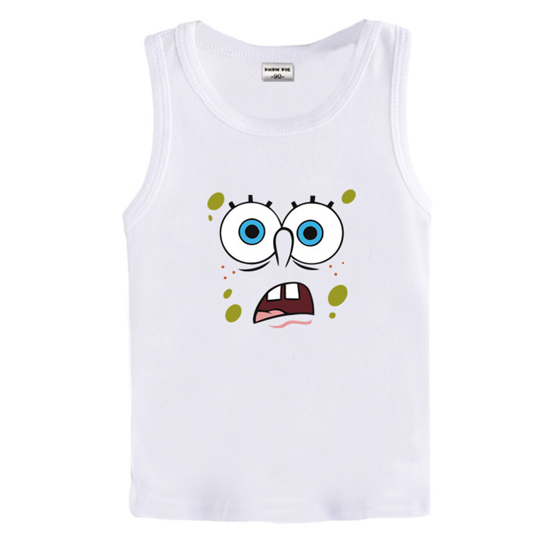 Lovely cartoon 3-7 years old baby Kids cotton White T Shirt boys girls short cotton toddler kids Tees infant vest(China (Mainland))