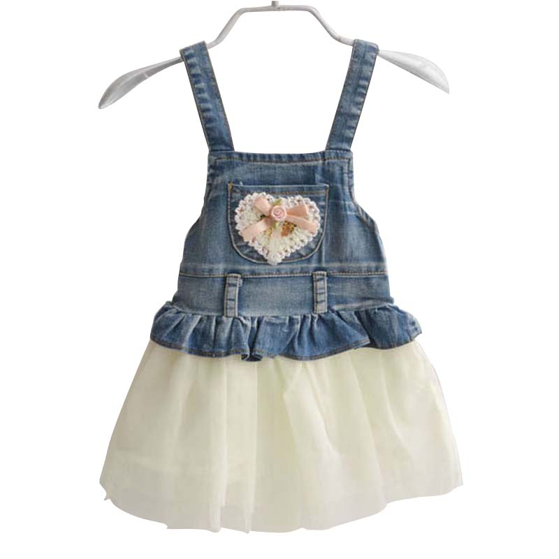 baby clothing new 2014 denim+lace ball gown braces dress girls suspender suit 0~2 age girl - Shop812500 Store store