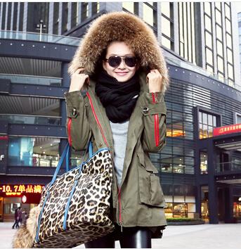 plus size winter jacket women Army Green overcoat outerwear large raccoon fur collar wadded parka - MissKiss store