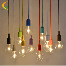 DIY Personality E27 LED lamp 13 Colorful Silicone Pendant light holder with 100cm cord ceiling Decoration lighting