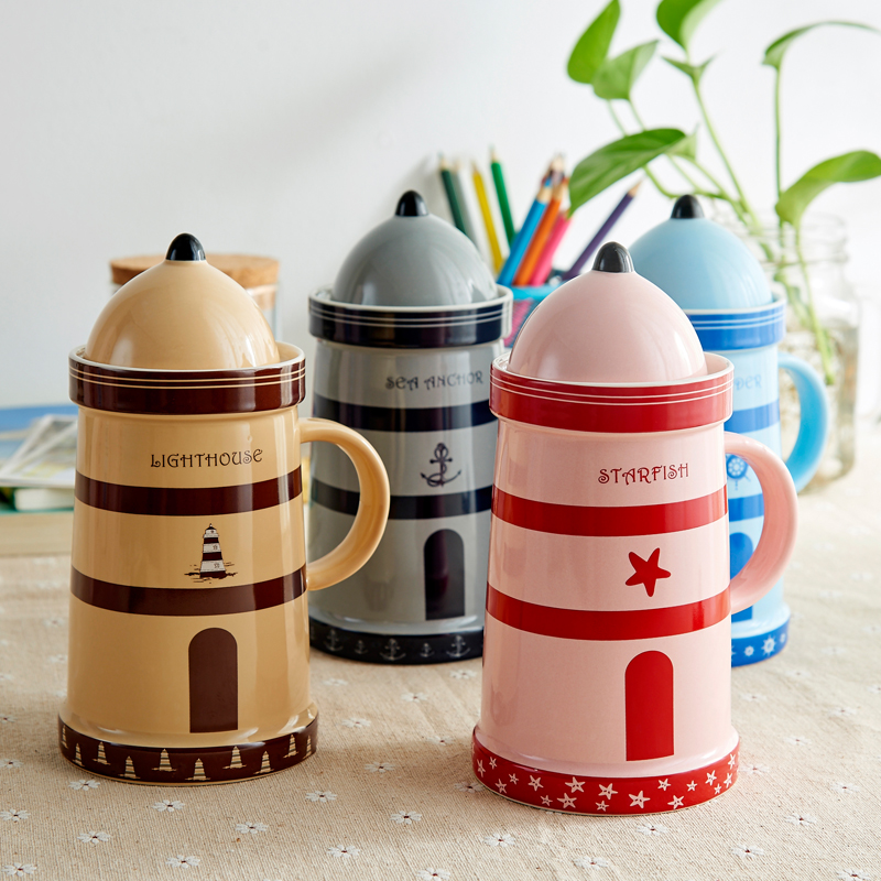 2016 Creative Lighthouse Shape Ceramic Cup With Cover Hot