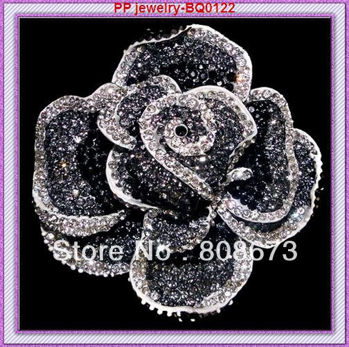 Luxury Silver plated Big Black crystal rose alloy wholesale brooch free shipping 60pcs/lot<br><br>Aliexpress