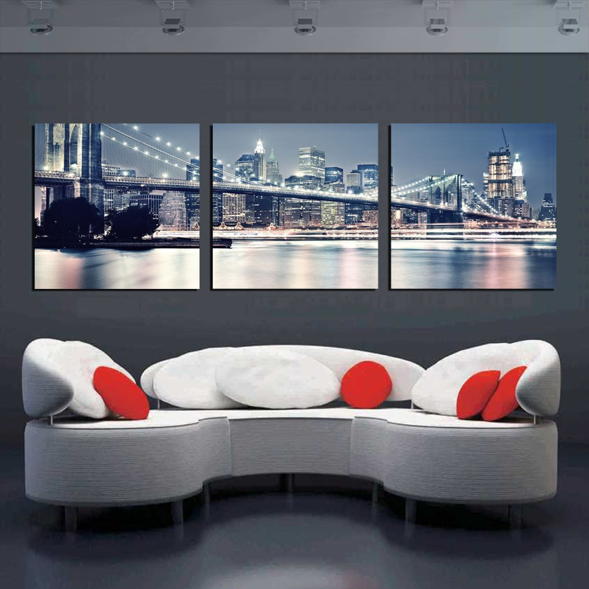 Modular Pictures New York City Landscape Oil Painting Beautiful Modern Bridge Picture Wall Art Canvas Pictures For Living Room(China (Mainland))