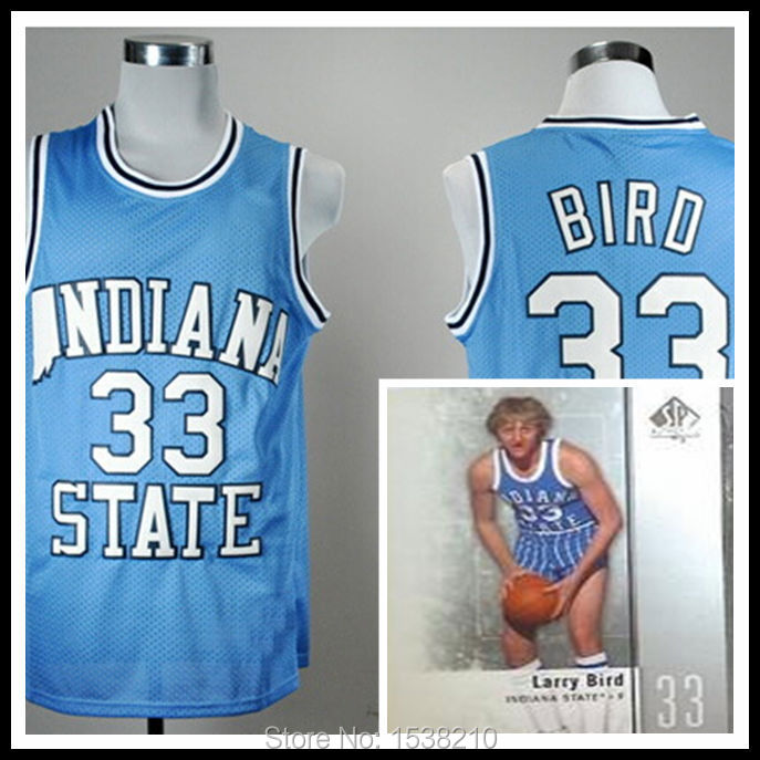 Free Shipping Indiana State Sycamores Larry Bird 33 Blue College Throwback Basketball jersey,Embroidery logos,Size S-XXXL(China (Mainland))