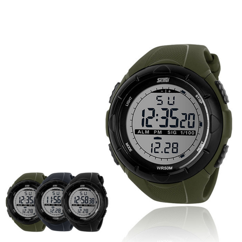 Top Quality ArmyGreen Men LED Digital Military Watch Dive Swim Watches Fashion Outdoor Sports WristwatchesWomen Men