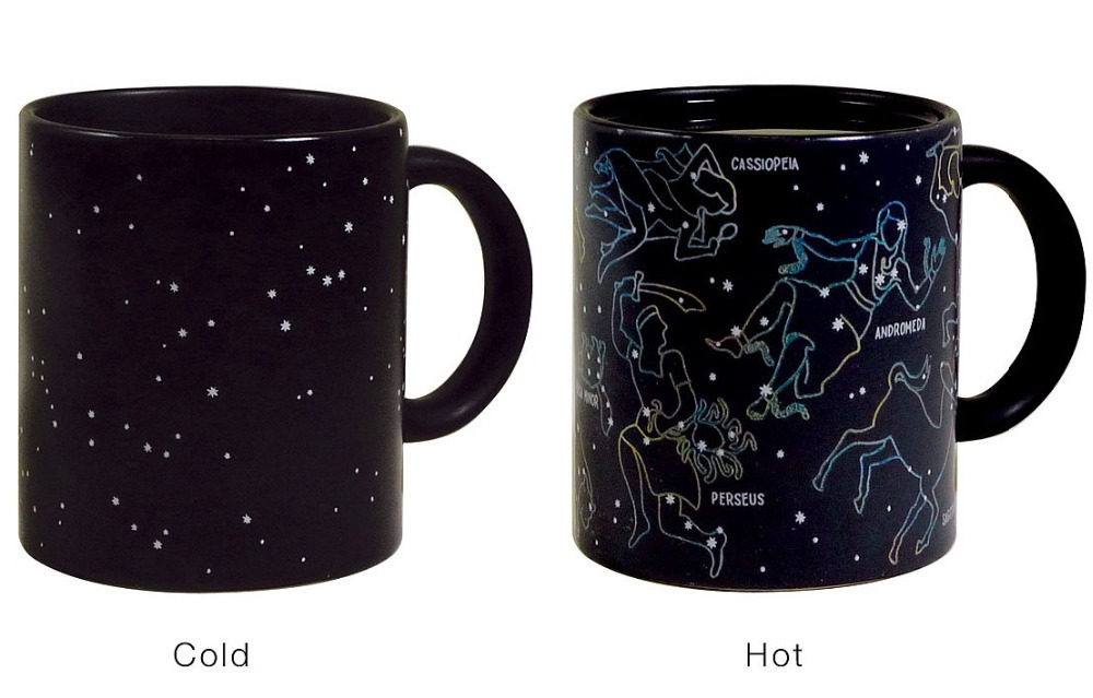 Creative Constellations Mugs Cup Novelty Heat Activated Color Changing Astronomy Physics Science Ceramic office Cup FreeShipping(China (Mainland))