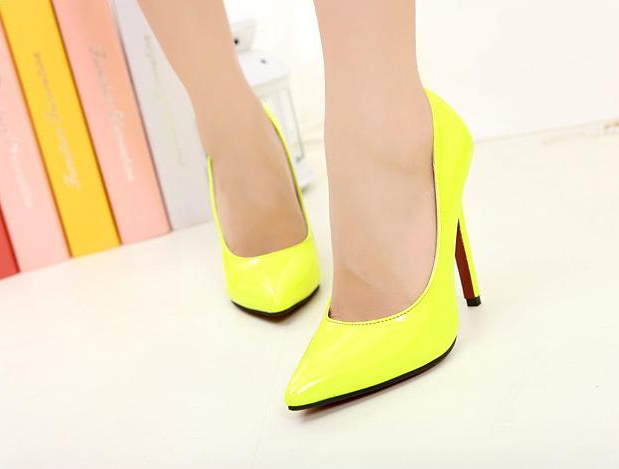 Women pumps red bottoms heels size (34-40) patent leather 11cm pointed toe neon green yellow sandals shoes - Fashion Shoes Bag Co., Ltd store