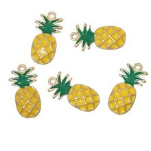 "DoreenBeads Zinc Alloy Fruit Charm Pendants Pineapple Gold Plated Yellow Enamel 23.0mm( 7/8"") x12.0mm( 4/8""), 2 PCs 2016 Hot New(China (Mainland))"