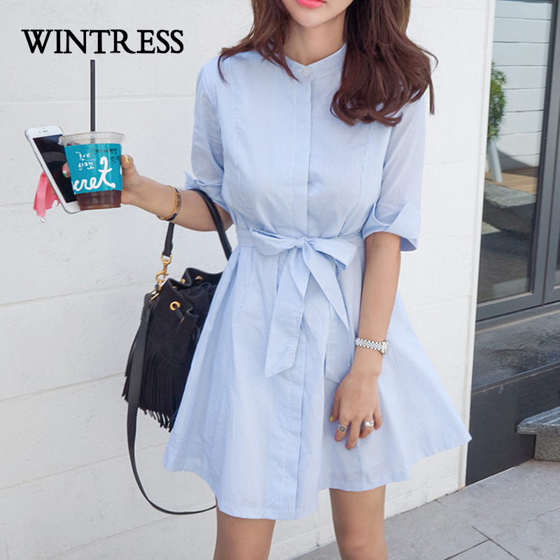 WINTRESS A-Line Casual Half Women Dress Summer Hot Selling Stand Striped Cotton Bow Buttons Korean Style Female Shirt Dresses(China (Mainland))
